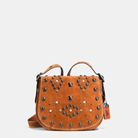 Coach Western Rivets Saddle Bag 23 In Suede Black Copper Ginger