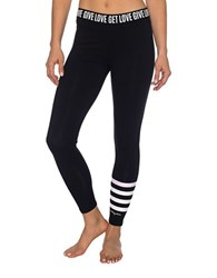 Betsey Johnson Striped Ankle Leggings Black White