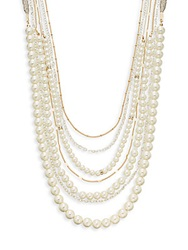 Sequin Faux Pearl And Chain Strand Necklace