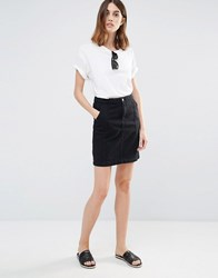 Vila Plait Detail Denim Pencil Skirt Black