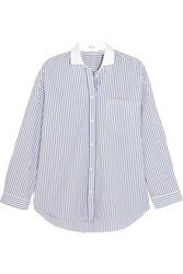 Brunello Cucinelli Embellished Striped Stretch Cotton Poplin Shirt Blue