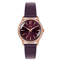 Henry London Ladies 34Mm Hampstead Leather Watch With Purple Dial And Stone Set Bezel Rose Gold Pink Purple