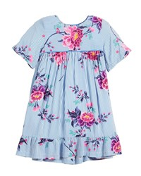 Joules Judy Striped And Floral Short Sleeve Dress Blue