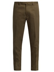 Valentino Slim Leg Cotton Gabardine Chino Trousers Green