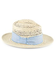 Saks Fifth Avenue Cane Weave Paper Fedora Hat Natural Blue