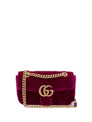 Gucci Gg Marmont Mini Quilted Velvet Cross Body Bag Purple