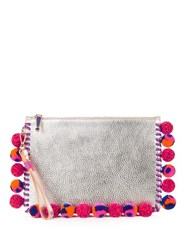 Sophia Webster Flossy Pompom Embellished Leather Pouch Silver Multi