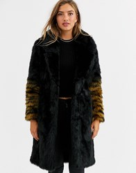 Urbancode Coat With Ombre Tiger Sleeves Black