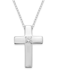 Giani Bernini Cubic Zirconia Cross Pendant Necklace In Sterling Silver