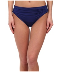 Badgley Mischka Solid High Waist Brief Midnight Blue Women's Swimwear
