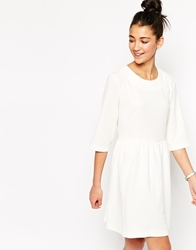 The Whitepepper 3 4 Sleeve Smock Dress With Tie Waist Ivory