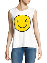 French Connection Printed Cotton Tank Top White Lemon
