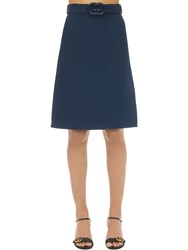 Gucci Belted Wool And Silk Cady Skirt Blue