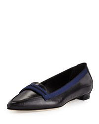 Manolo Blahnik Salute Grosgrain Trim Leather Loafer Black