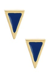 Ariella Collection Triangle Stud Earrings Blue