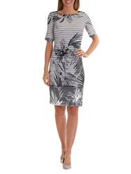 Betty Barclay Floral And Stripe Print Dress White Black