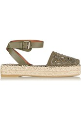 Valentino Studded Suede And Leather Espadrille Sandals Green