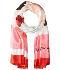 Kate Spade Waltz Stripe Scarf Surprise Coral Multi