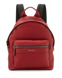 Salvatore Ferragamo Firenze Men's Grained Leather Backpack Red