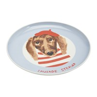 Joules Mischievous Mutts Side Plate Blue Dog