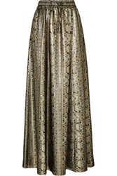 Vanessa Seward Mira Silk Blend Lame Maxi Skirt Silver