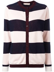 Marni Riga Striped Cardigan Burgundy