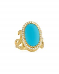 Jude Frances 18K Oval Turquoise And Diamond Cocktail Ring Size 6.5