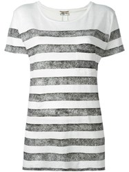 Saint Laurent Striped Short Sleeve T Shirt White