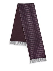 Saks Fifth Avenue Collection By Johnstons Grid Scarf Burgundy