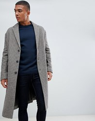 New Look Over Coat In Brown Check Light Brown