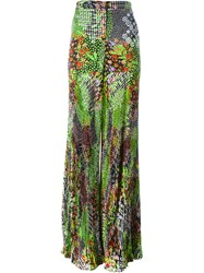 Versace 'Floral Patch' Pleated Palazzo Trousers Multicolour