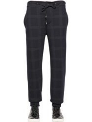 Etro Checked Wool And Cotton Jersey Pants Navy