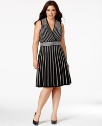 Spense Plus Size Surplice Wrap A Line Striped Sweater Dress Black Ivory