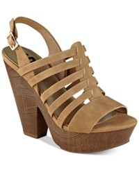 G By Guess Seany Platform Sandals Women's Shoes Brown