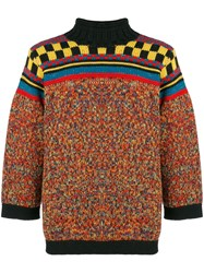 Jean Paul Gaultier Vintage Mixed Pattern Jumper Yellow And Orange