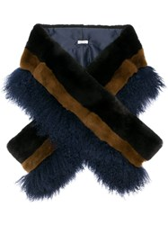 P.A.R.O.S.H. Long Fur Stole Blue