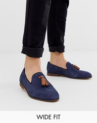 Kg By Kurt Geiger Wide Fit Loafers In Navy Suede With Contrast Tassel Detail