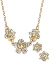 Charter Club Crystal Pave Flower Pendant Necklace And Matching Stud Earrings Set Only At Macy's Gold