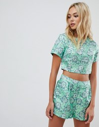Urban Bliss Co Ord Tee With Brocade Green