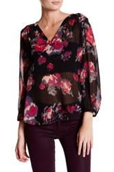 Joie Axcel Sheer Floral Silk Tunic Blouse Black