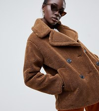 Warehouse Double Breasted Teddy Coat In Tobacco Brown