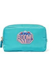 Anya Hindmarch Boom Leather Trimmed Shell Cosmetics Case Turquoise