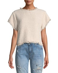 Cupcakes And Cashmere Justeen Cropped Tweed Top Light Pink