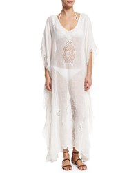 Flora Bella Tivoli Lace Inset Long Caftan Coverup White Pechino