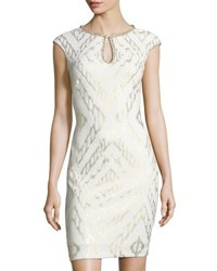 Jax Jewel Embellished Sheath Dress White Gold