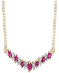 Macy's Ruby 1 1 10 Ct. T.W. And Diamond 1 5 Ct. T.W. Statement Necklace In 14K Gold