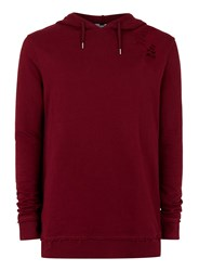 Topman Red Burgundy Distressed Classic Fit Hoodie