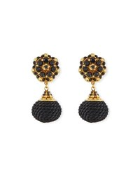 Jose And Maria Barrera Jet Black Beaded Double Drop Clip On Earrings Black Gold