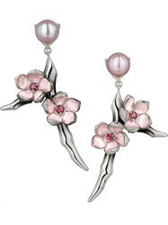 Shaun Leane 'Cherry Blossom' Small Branch Earrings Metallic