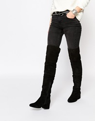 Park Lane Block Heeled Suede Over The Knee Boots Black